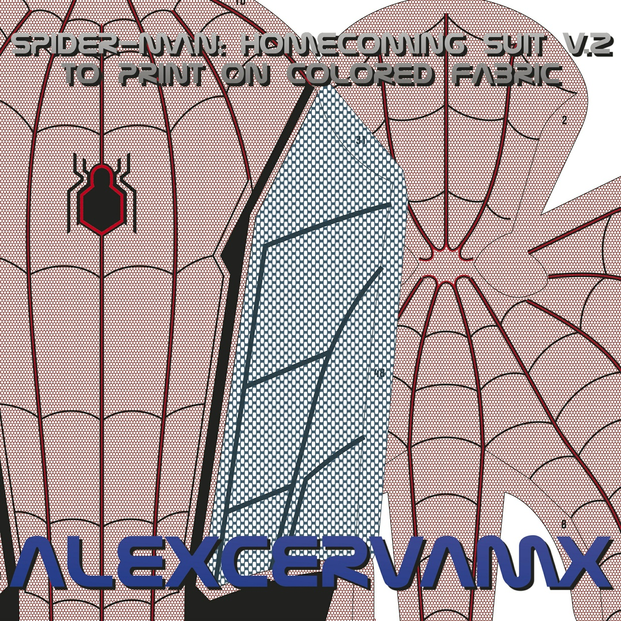 AlexCerva's SM: Homecoming v2 Dye-Sub Pattern To Print On Colored Fabric