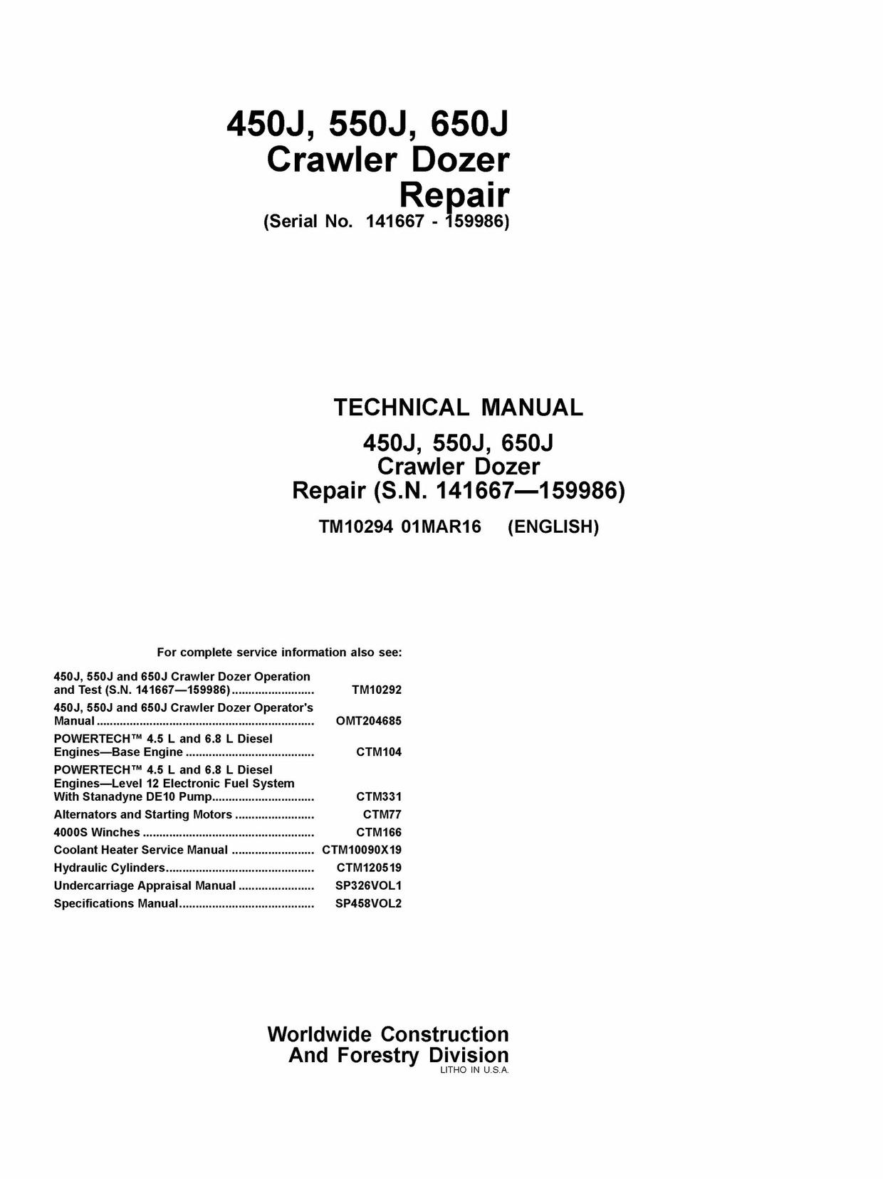 DOWNLOAD JOHN DEERE 450J 550J 650J CRAWLER DOZER REPAIR SERVICE TECHNICAL MANUAL TM1029