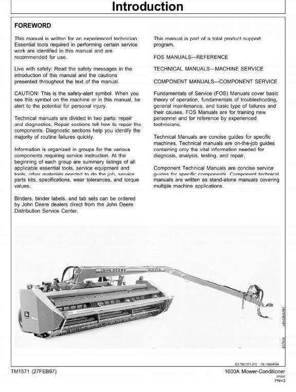 John Deere Mower-Conditioner 1600A Workshop Service Manual (tm1571)