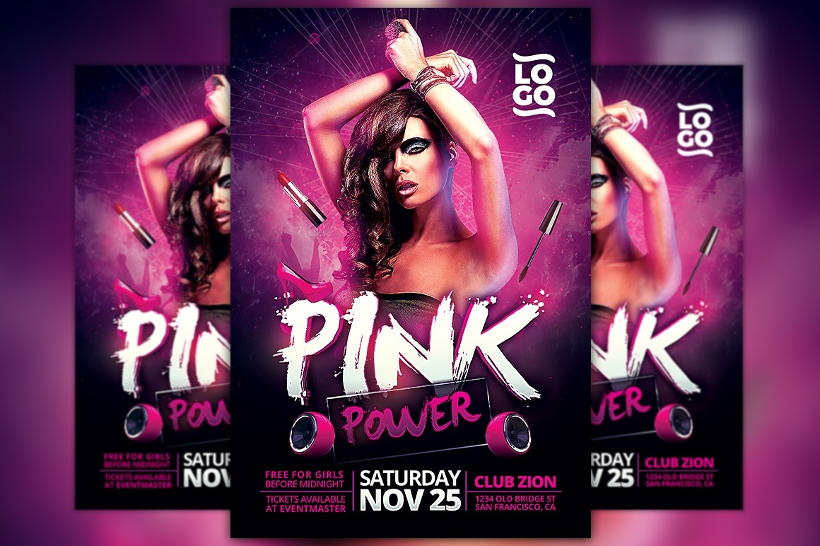 Pink Power Party Flyer Template