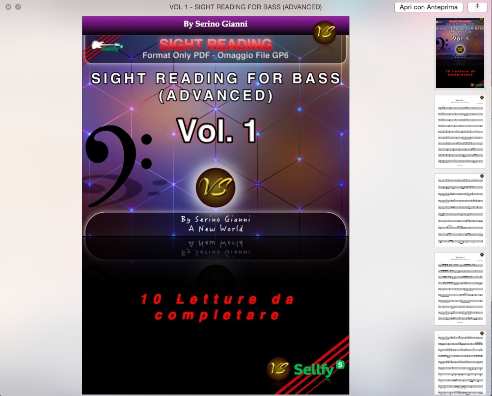 VOL 1 - SIGHT READING FOR BASS (ADVANCED) - ONLY PDF FORMAT