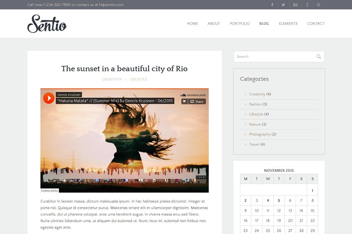 Sentio Pro - fast and modern responsive WordPress theme