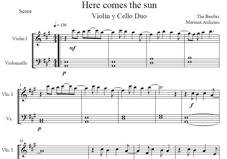 Here comes the sun - The Beatles - string duet