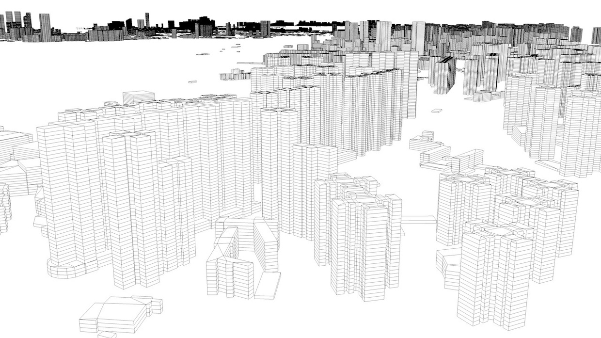 Kowloon City District of Hong Kong Streets and Buildings Architectural 3D Model