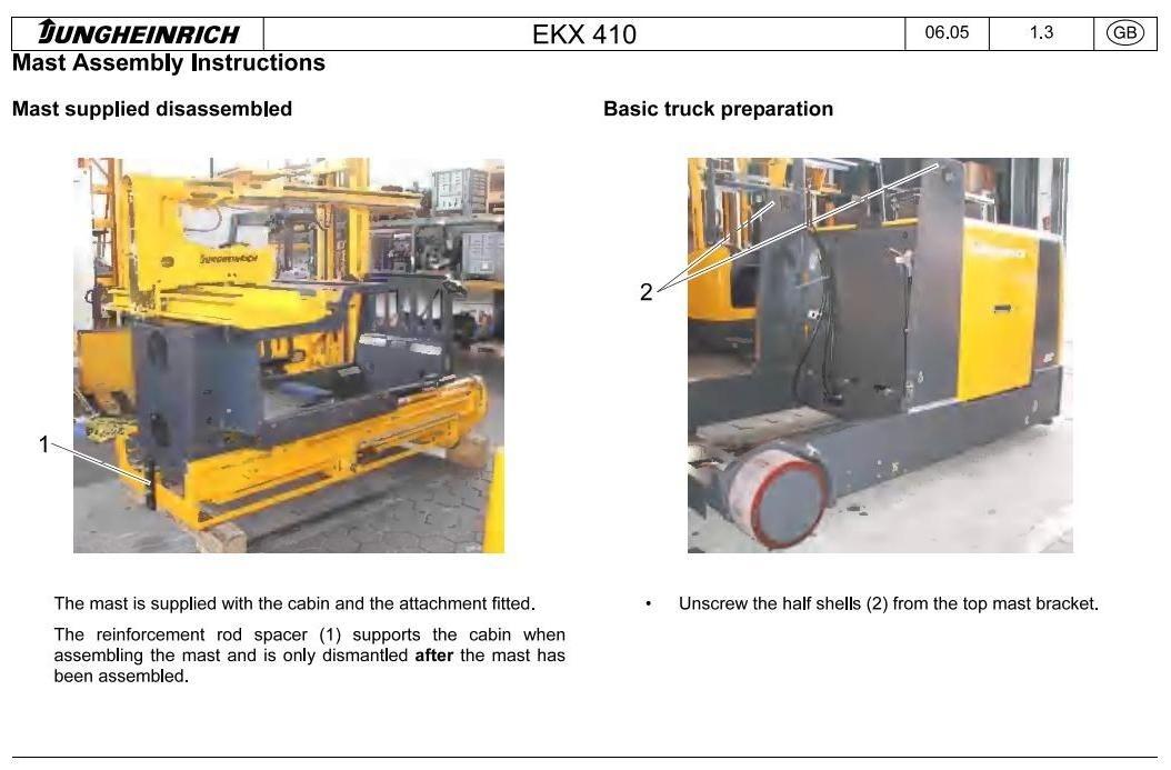 Jungheinrich Electric Three-way StockPicker Type EKX-410 (11.2003-05.2012) Workshop Manual