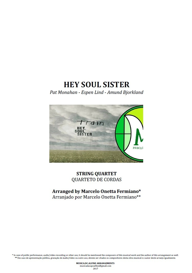 Hey Soul Sister | Train | Quarteto de Cordas | Partitura Completa | Download