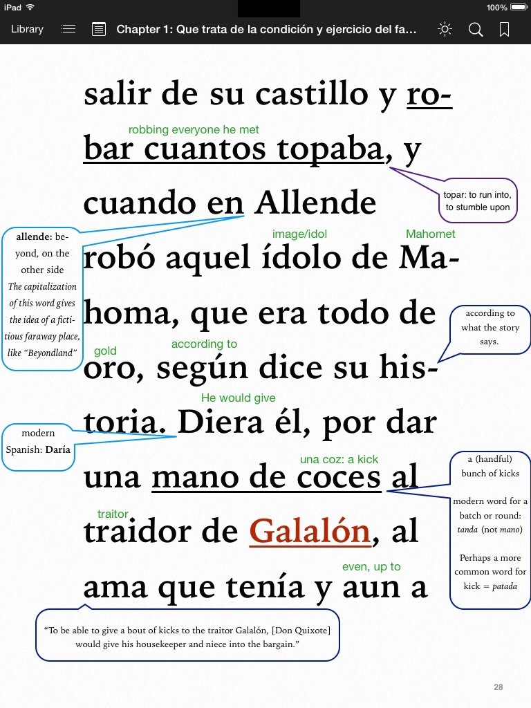 Chapter 1 of Don Quixote de la Mancha - annotated .ibooks format