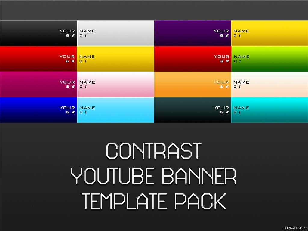 Contrast YouTube Banner Template Pack