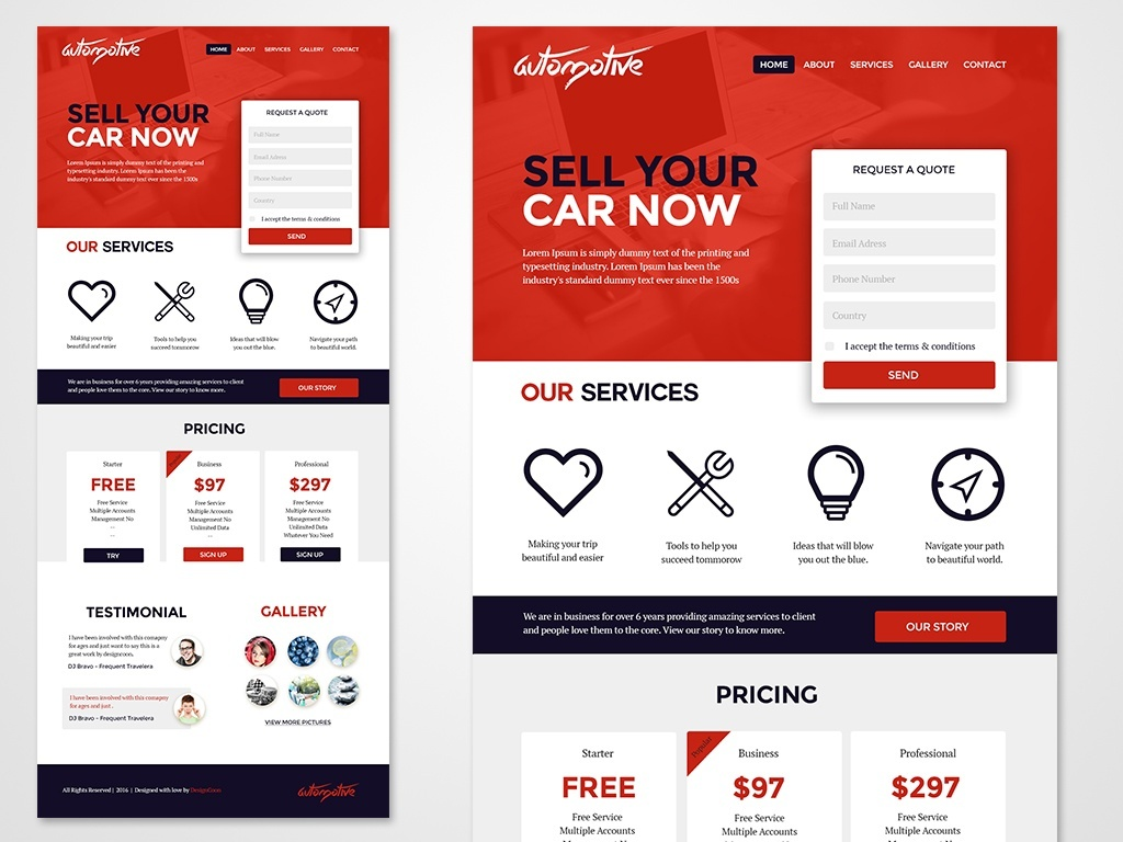 Free 3 Landing Pages PSD with Form , Color Combos and Pictures