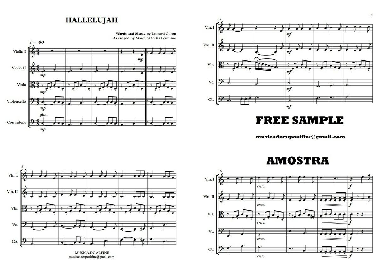 Hallelujah | Orquestra de Cordas ou Quinteto de Cordas | Partitura Completa