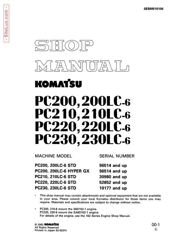 Komatsu PC200,LC-6 , PC210,LC-6 , PC220,LC-6, PC230,LC-6 Excavator Shop Manual - SEBM010106