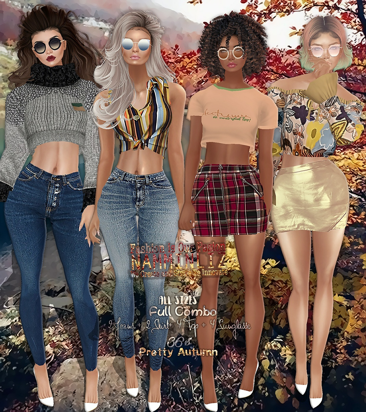 Pretty Autumn combo4 Skirt Bibirasta + Tops +  Sunglasse