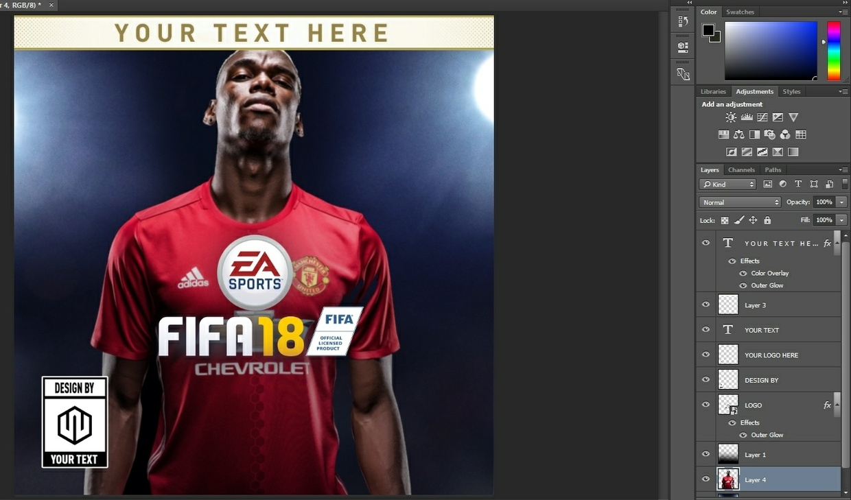 FIFA 18 COVER TEMPLATE FULLY EDITABLE
