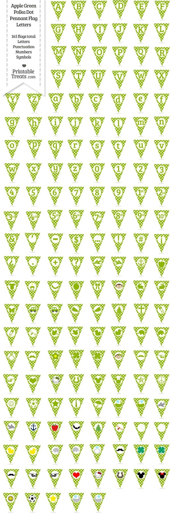 165 Apple Green Polka Dot Pennant Flag Letters Password