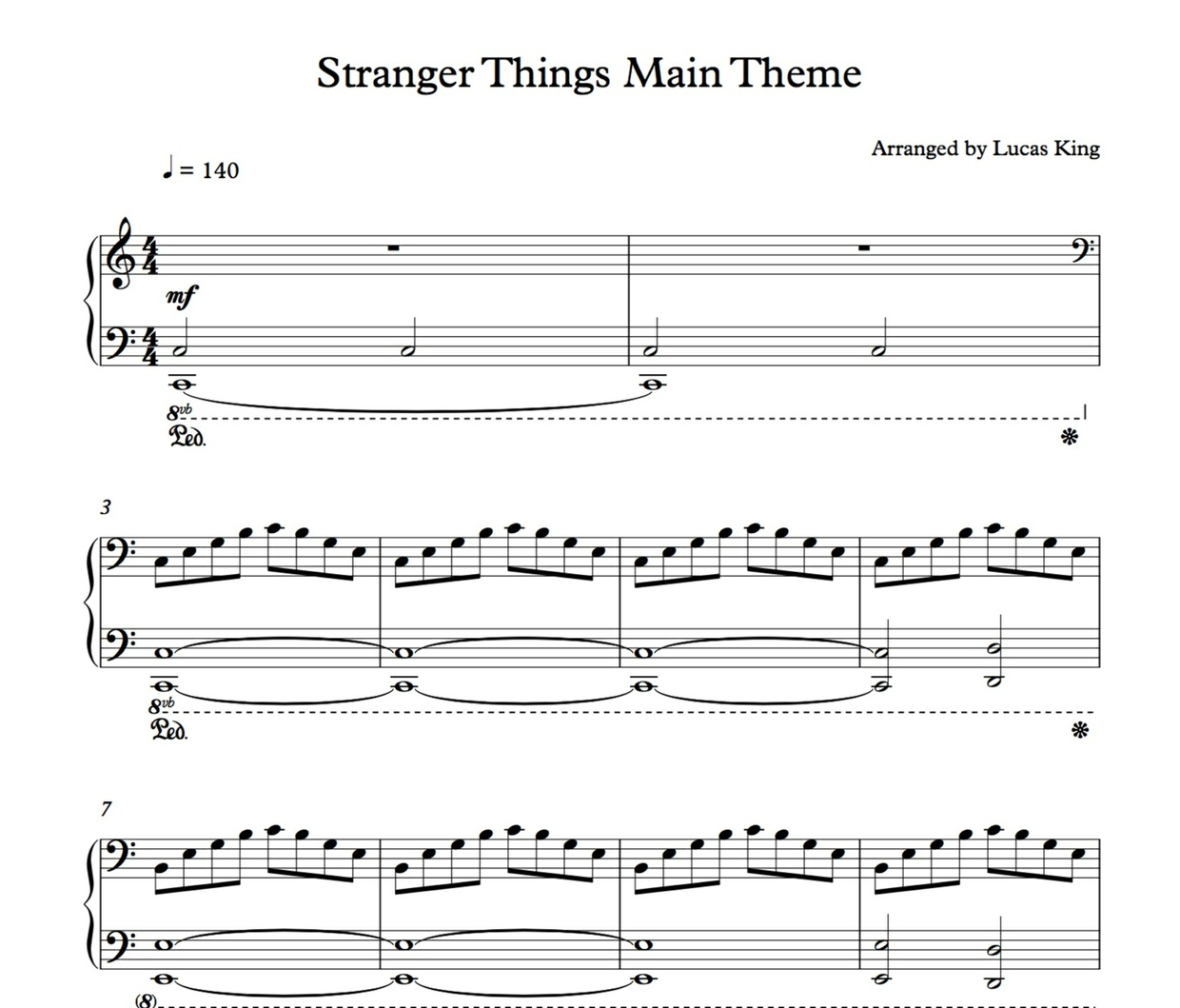 Stranger Things Piano Sheet
