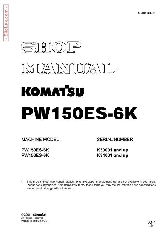 Komatsu PW150ES-6K Hydraulic Excavator Shop Manual - UEBM000401