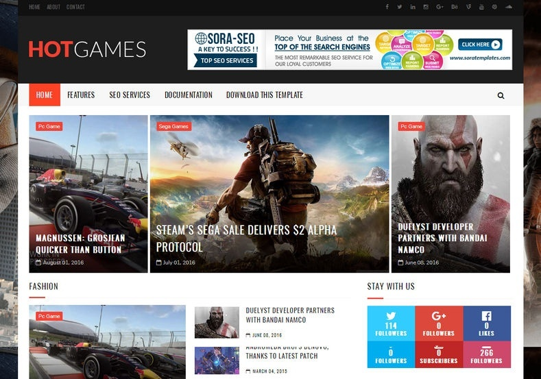 Hot Games Gaming Blogger Template Premium Version