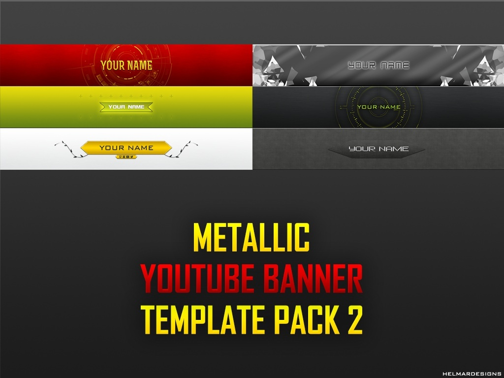 Metallic YouTube Banner Template Pack 2