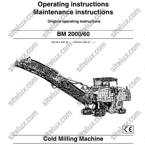 Bomag BM 2000/60 Cold Milling Machine Operating & Maintenance instructions