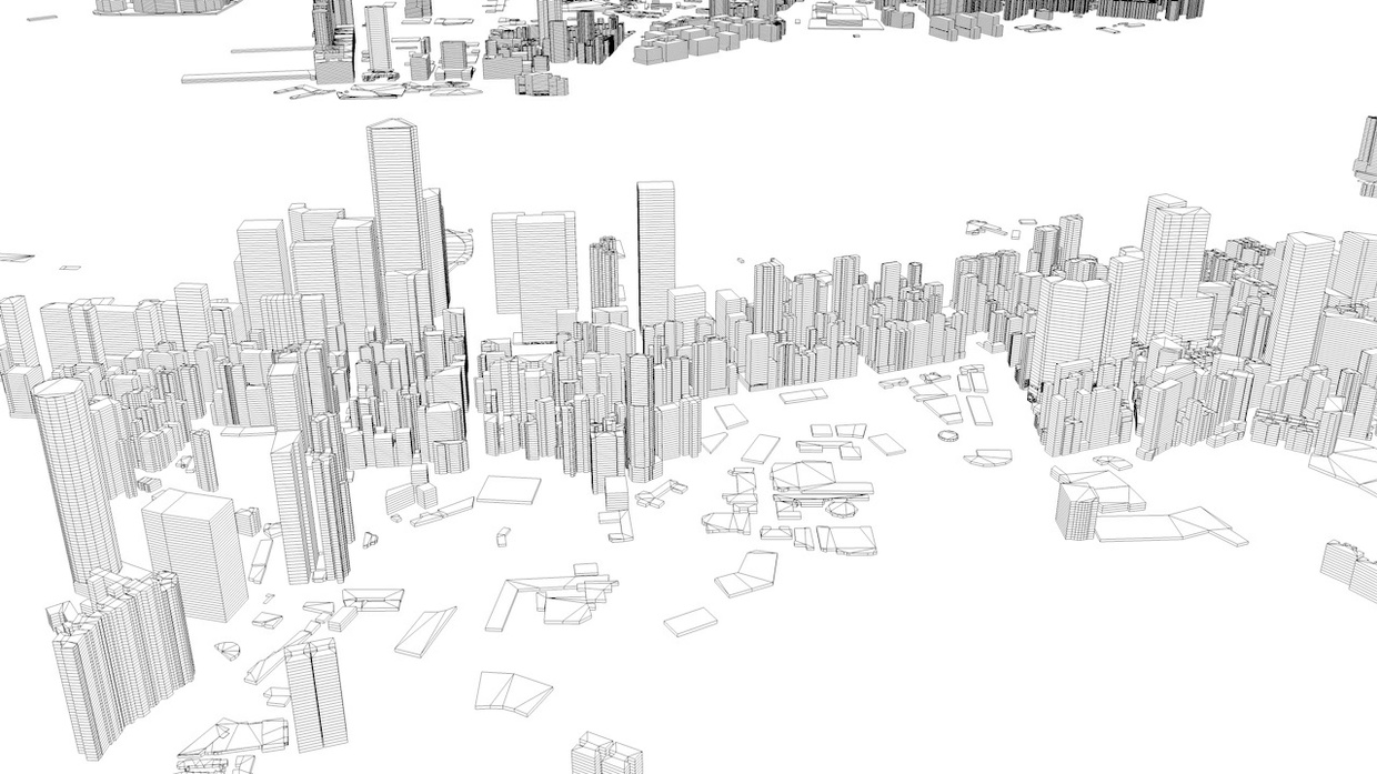 Hong Kong City Streets and Buildings Architectural 3D Model