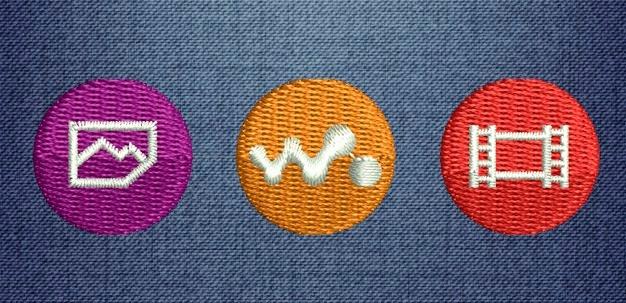 Walkman logo icons - embroidery designed - wilcom