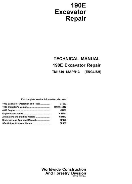 Download John Deere 190E Excavator Repair Technical Manual TM1540