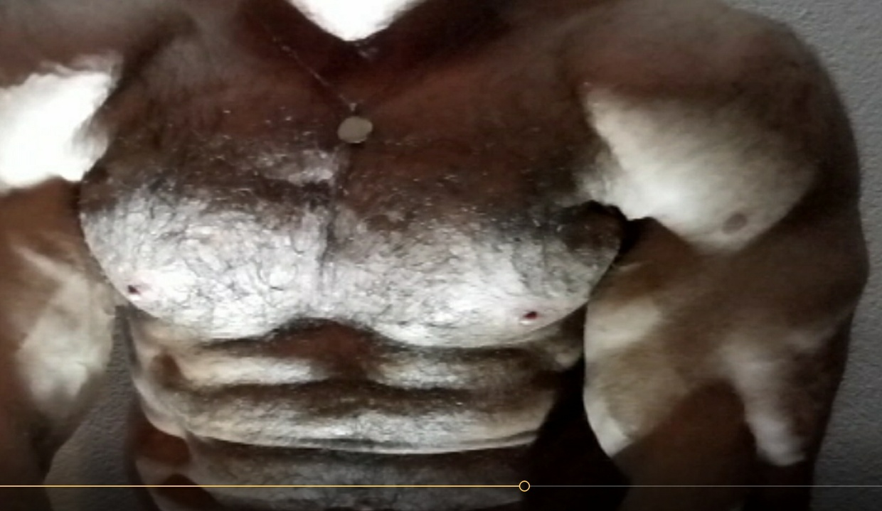 Hairy Superman STUD flexing muscles 2017 new video