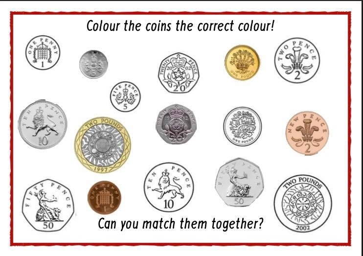 COLOUR THE COINS / MATCH THE COINS
