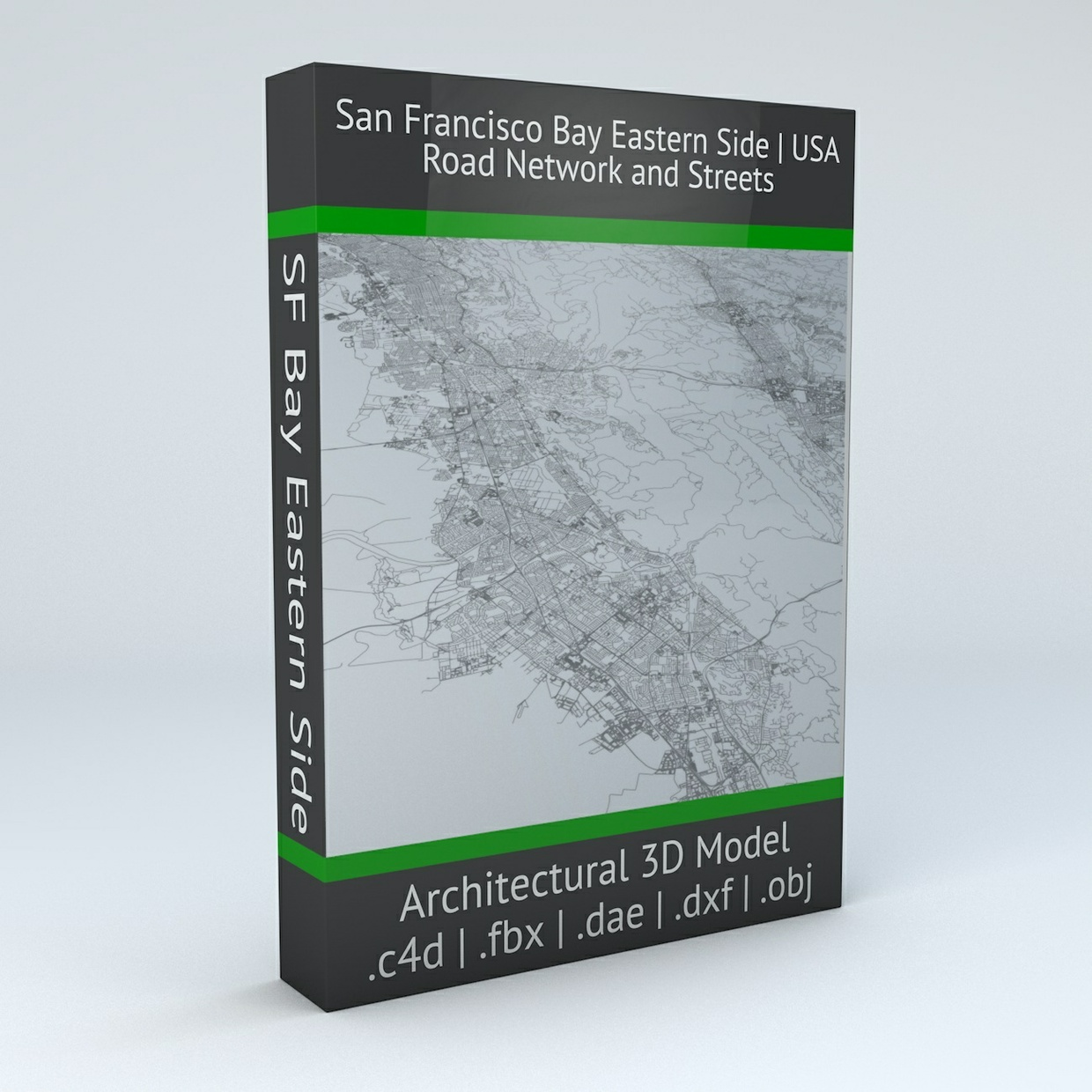 San Francisco Bay Eastern Side Area Road Network Architectural 3D Model