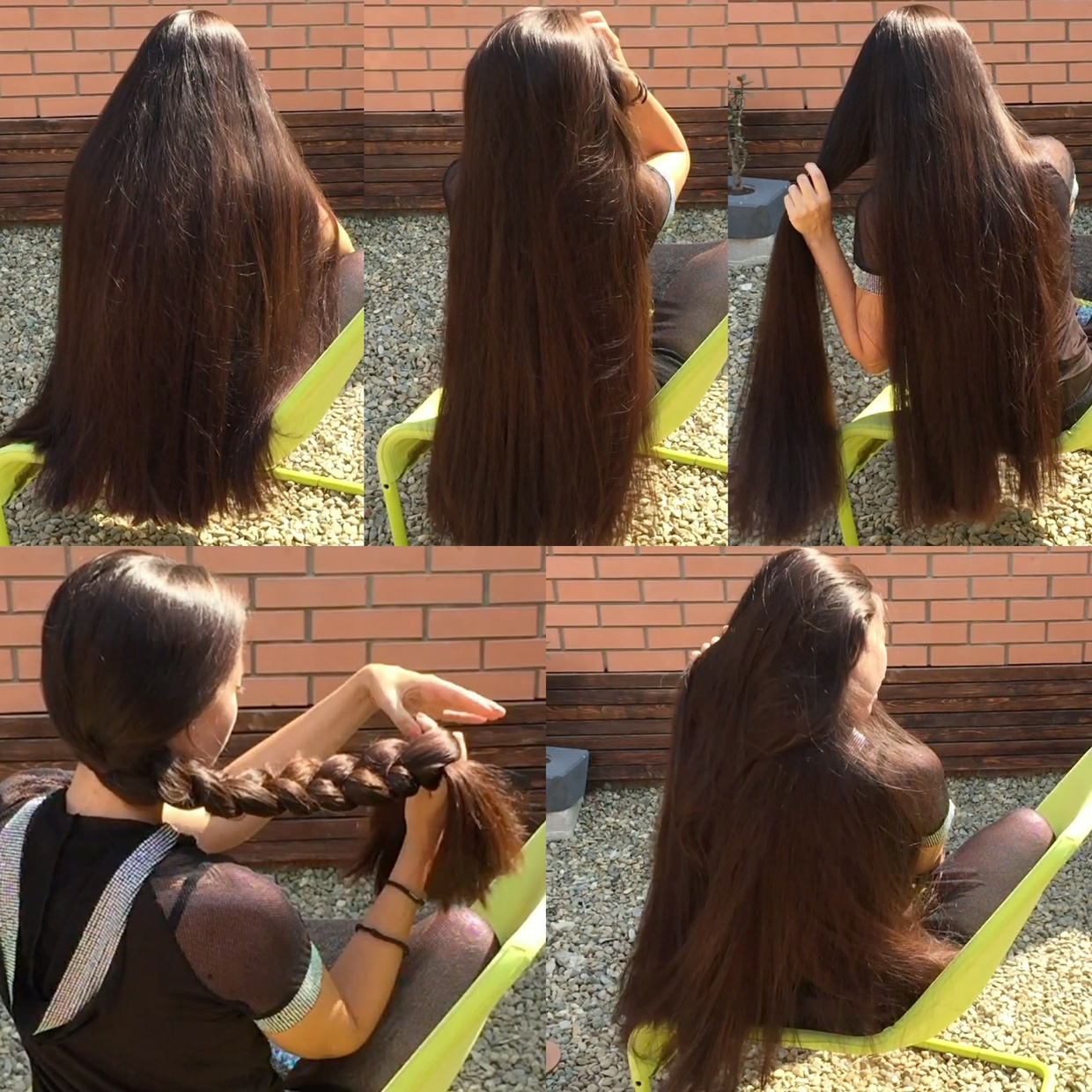 VIDEO - Superthick hairplay in chair outside