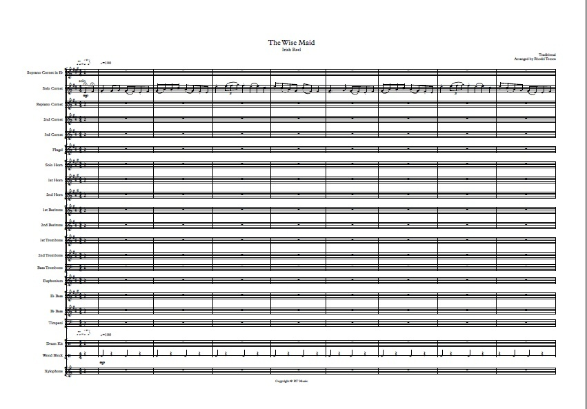 Brass band: The Wise Maid (Irish reel) arrangement.