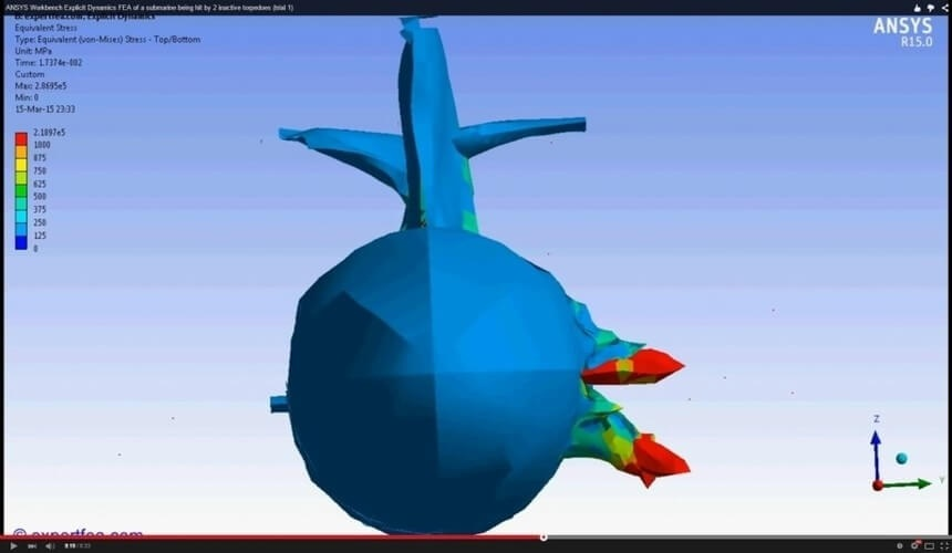 ANSYS Workbench MECHDAT file and 3D model for submarine 1