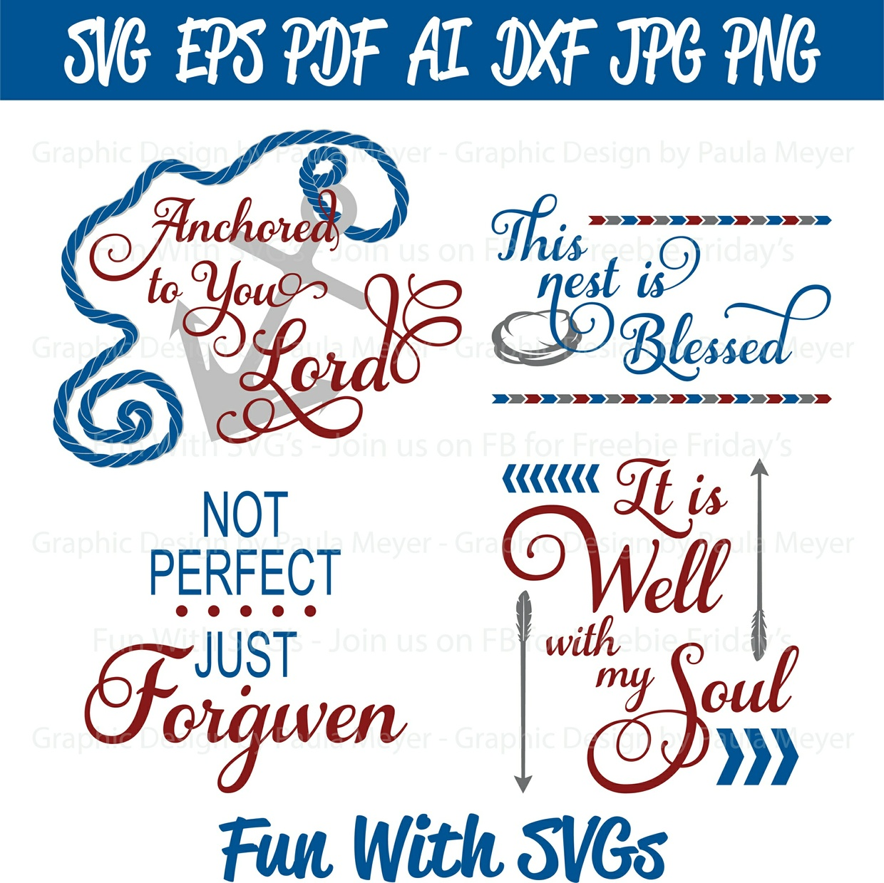Anchored to You Lord - SVG Cut File, High Resolution Printable Graphics and Editable Vector Art