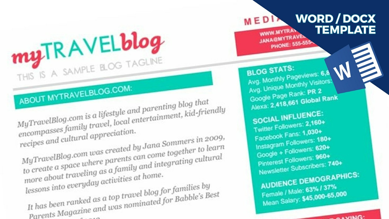 TRAVEL Blogger Media Kit Template [1-page, .docx file, instant download]