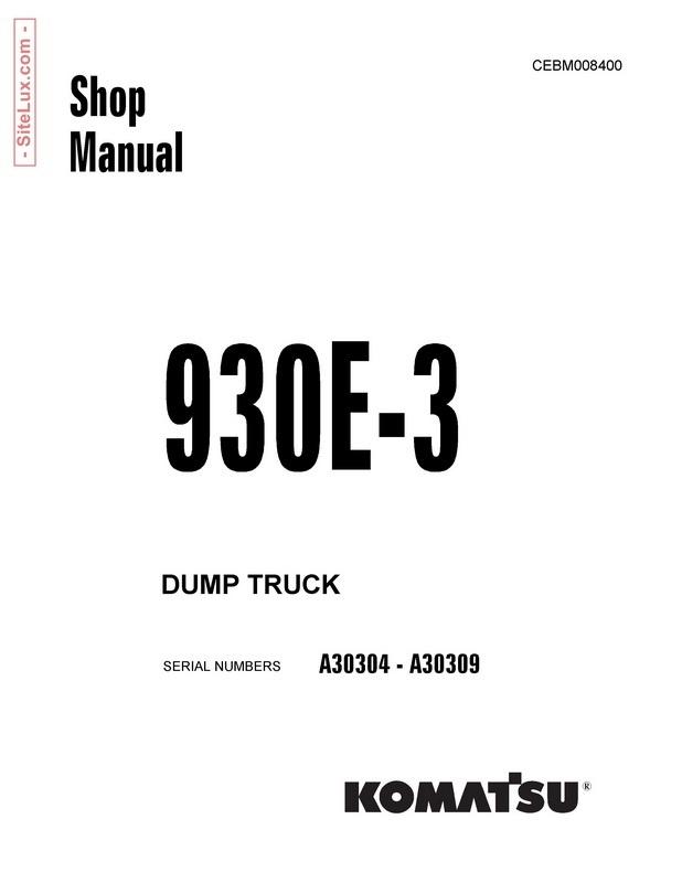 Komatsu 930E-3 Dump Truck Shop Manual - CEBM008400