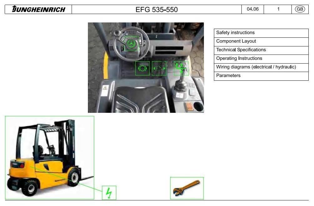 Jungheinrich Electric Lift Truck EFG 535, EFG 540, EFG 545, EFG 550 (01.04-10.09) Service Manual