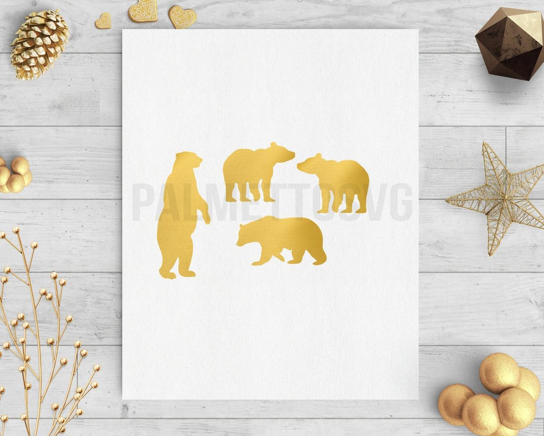 Gold foil bear clip art svg dxf cut file silhouette cameo cricut download