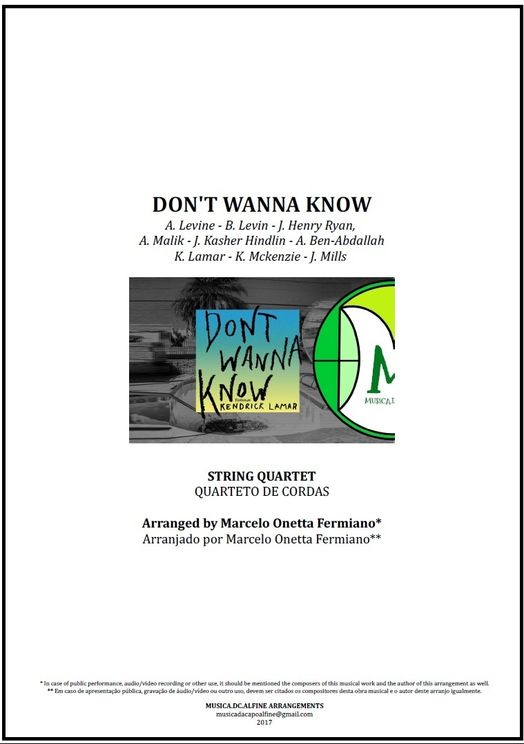 Don't Wanna Know | Maroon 5 | Quarteto de Cordas | Partitura Completa Donwload