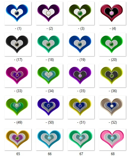 100 png Satin Heart pack2
