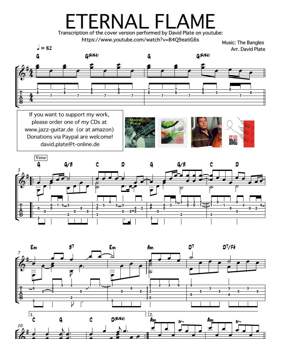 ETERNAL FLAME (Banges) TABs + Score - Guitar Arrangement