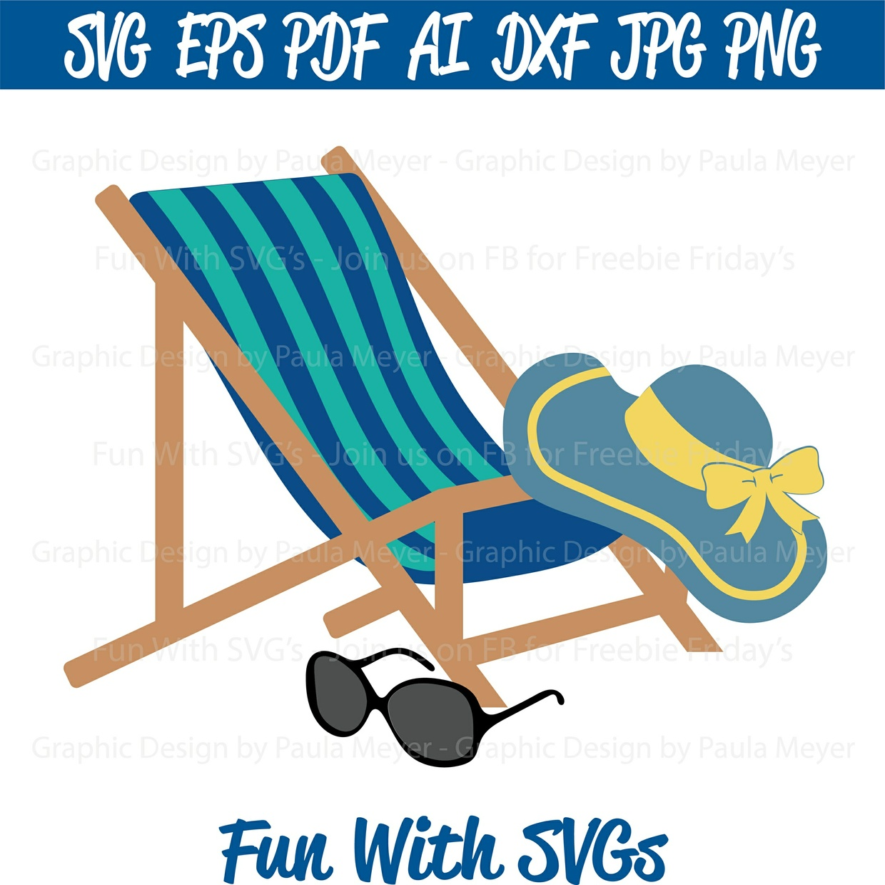 Beach Chair - SVG Cut File, High Resolution Printable Graphics and Editable Vector Art