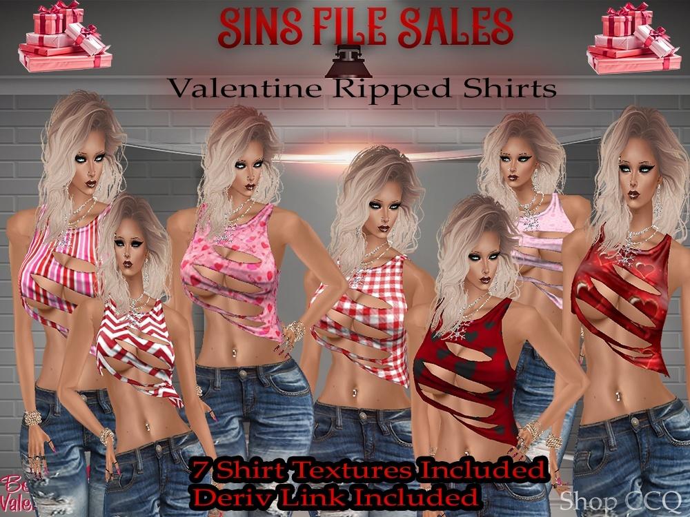 Valentine♥Ripped Shirt Set