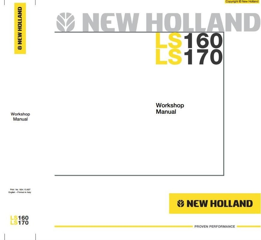 New Holland Skid Steer Loader LS160, LS170 Workshop Service Manual
