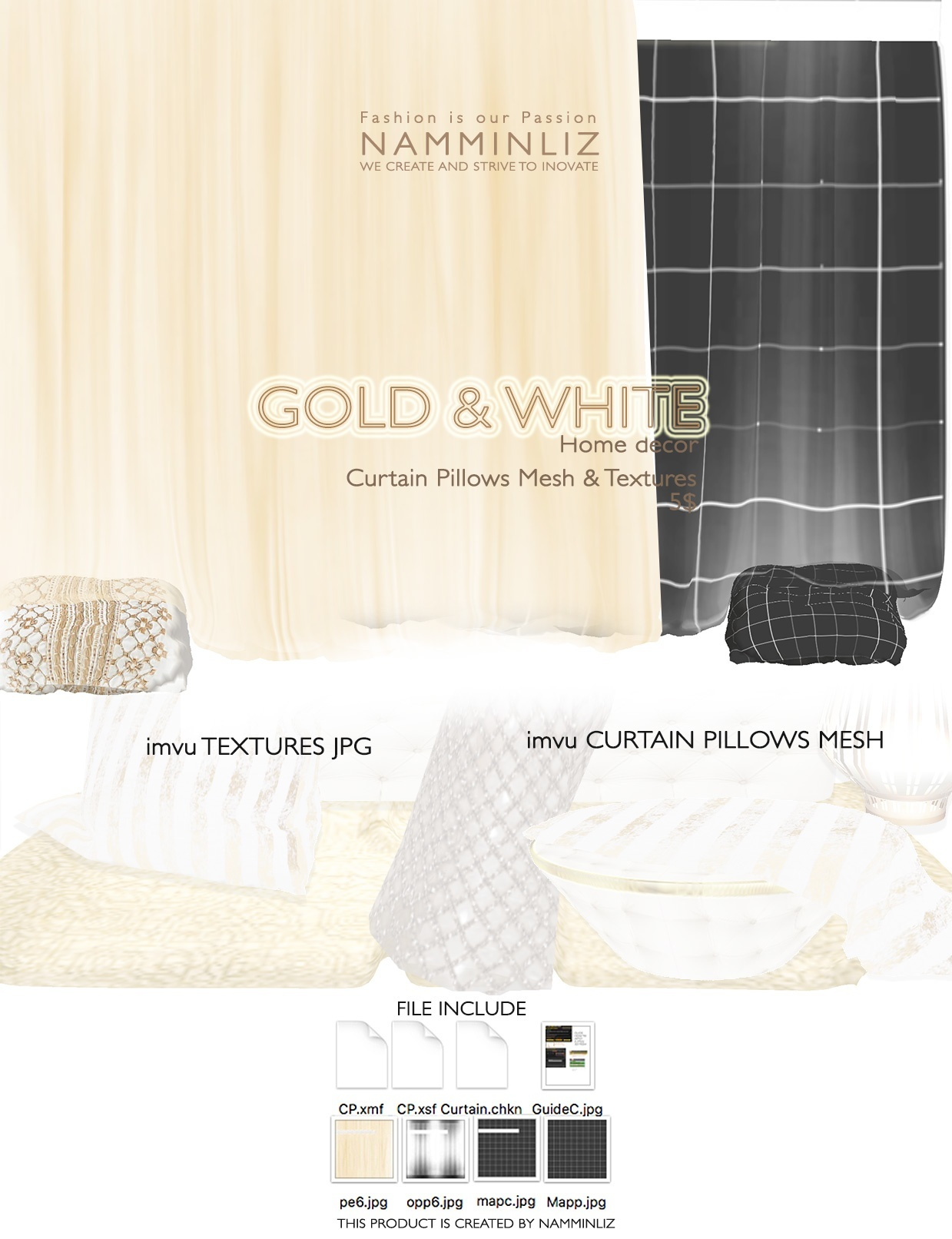 Gold & White imvu Curtain Pillow mesh & texture JPG, XSF, XMF, CHKN files