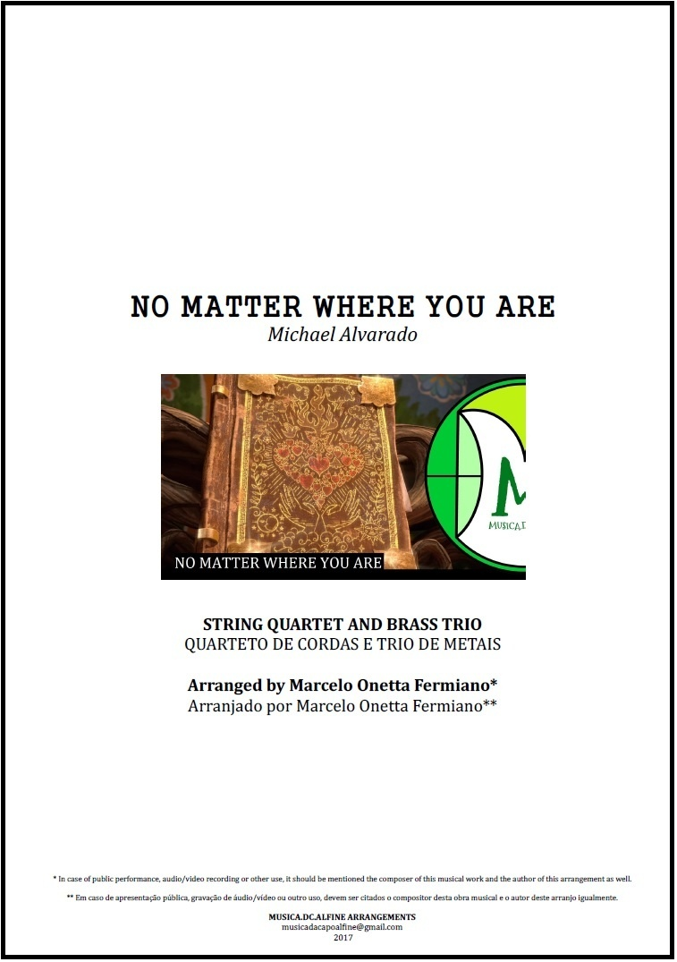No Matter Where You Are   Us The Duo   String Quartet And Brass Trio   Score and Parts