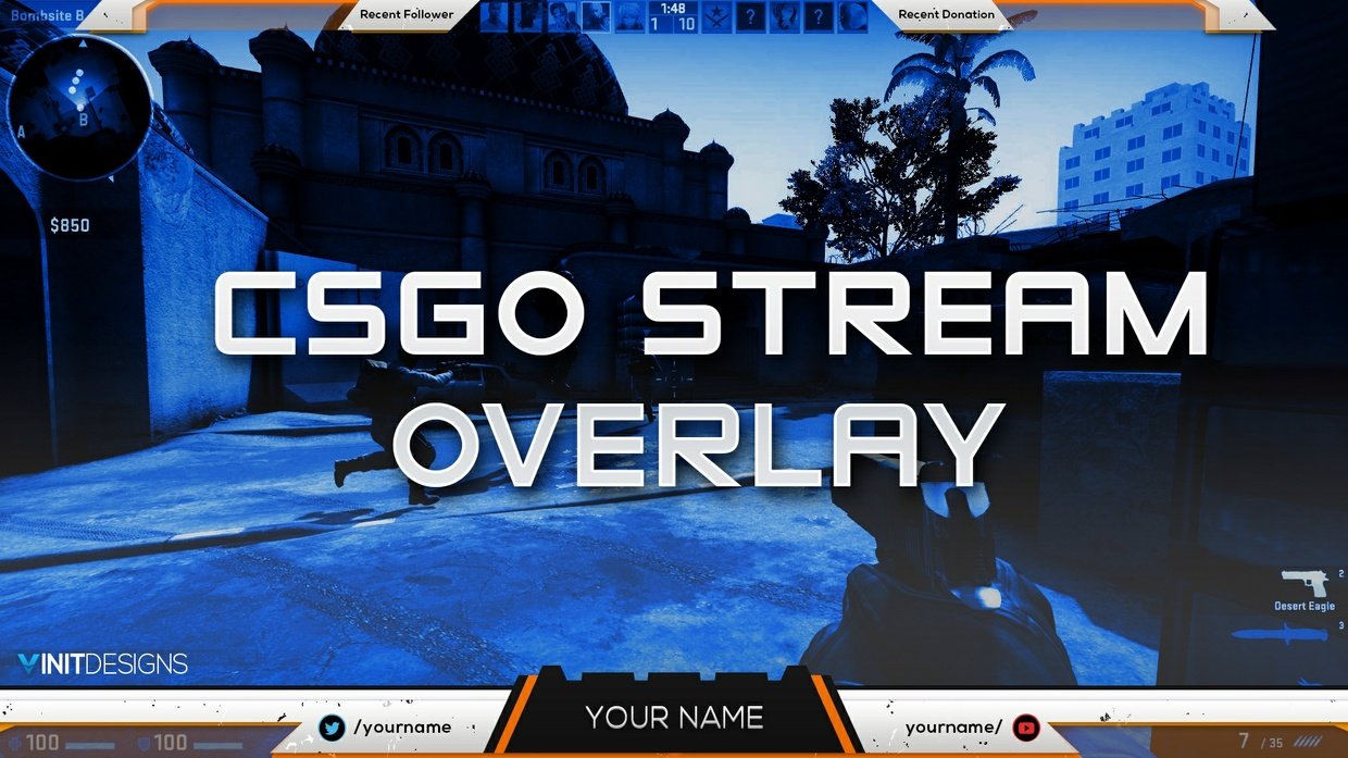 FREE CSGO TWITCH LIVE STREAM OVERLAY TEMPLATE