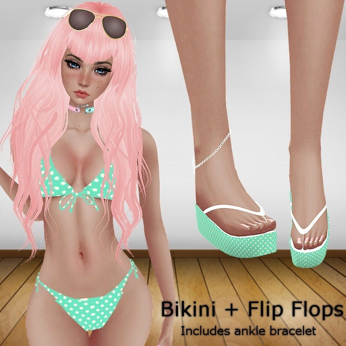 RLL Teal Bikini with Flip Flops (Catty Only)