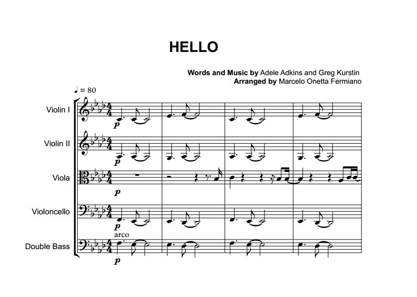 All Music Chords hello sheet music : Hello - Adele - String Orchestra or String Quintet - S