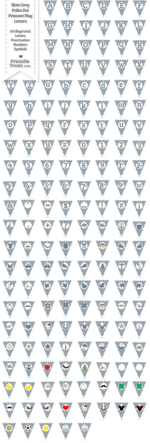 165 Slate Grey Polka Dot Pennant Flag Letters Password
