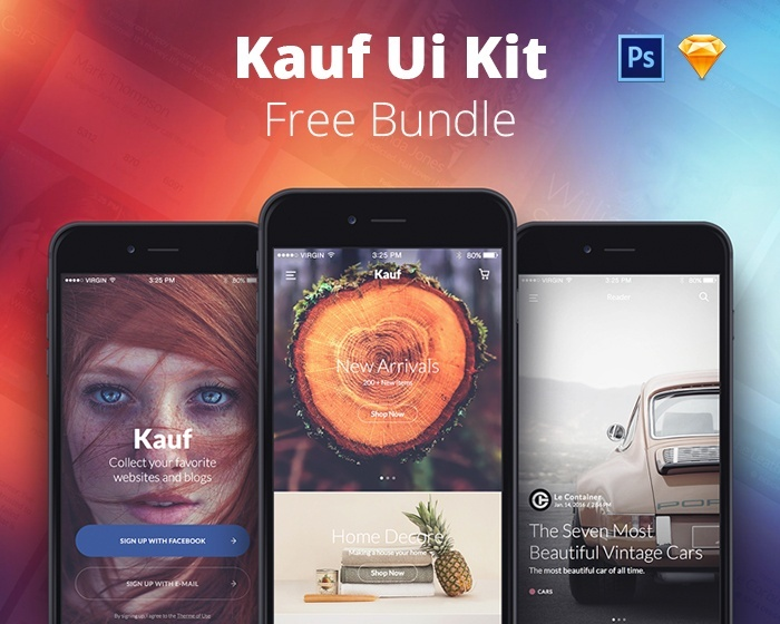FREE Kauf UI Kit Bundle Lite - Sketch & Photoshop